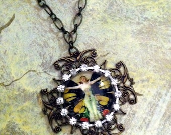 Antique Brass Filigree Butterfly Fairy Pendent