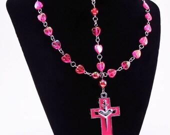 Rosary, Sacred Heart, Deep Rose Hearts, Religious, Spiritual, Catholic, Cross, Christian, Prayer Beads, Necklace