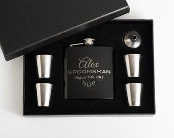 9, Flask Set, Flasks, Personalized Groomsmen Gift, Engraved Flask Set, Best Man Gift, 9 Flask Set