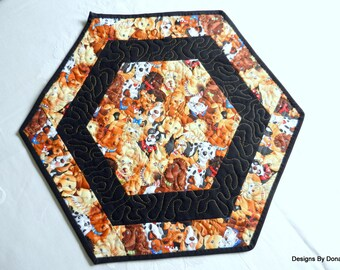 Quilted Octagon Candle Mat, Reversible, Cartoon Dogs Wearing Collars, Black Border and Binding, Paw Prints & bones, Handmade Table Linens