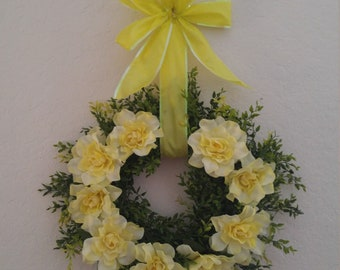 Spring Boxwood Wreath with beautiful Yellow flowers