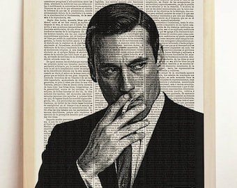 Don Draper Print Mad Men Poster Black White TV Show Series Illustration B&W Engraving Art Upcycled Decor Book Dictionary