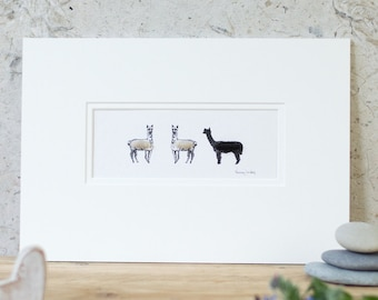 Print, 3 fluffy alpacas, hand finished with alpaca wool