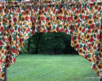Sunflowers Green Leaves Natural Cotton Country 3pc Handcrafted Custom Sewn Kitchen Curtain Swag Valance Set