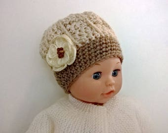 Baby size 0/3 months-knitted Hat wool hat - Beige Taupe and light beige raffia flower - handmade