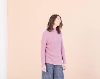 Pink hemp turtleneck sweater - Clothing gift for her - Vegan knitwear