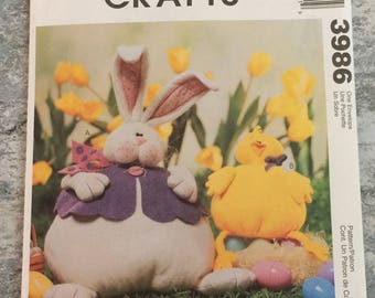 McCalls Crafts 3986  Stuffed Bunny Chick Easter Sewing Pattern UNCUT