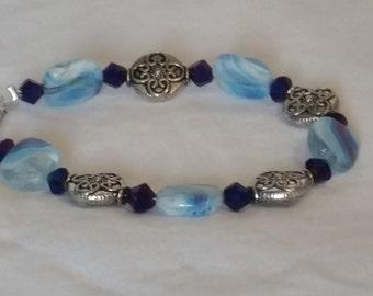 Blue glass square bracelet