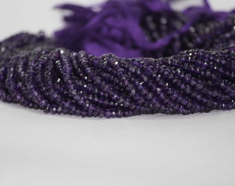 100% Natural Amethyst Faceted Rondelle Beads | Wholesale Gemstone Beads