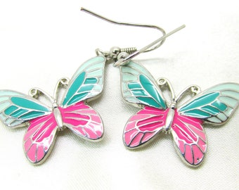 Vintage Enamel Green & Pink Butterfly Pierced Dangle Earrings