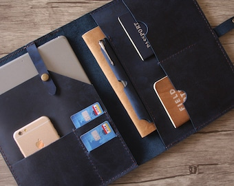 """Personalized iPad Pro Case, Apple Pencil Case, Blue Leather  10.5"""" iPad Sleeve, Hand Stitched 9.7"""" iPad Pro Cover, Custom Made All Tablets"""