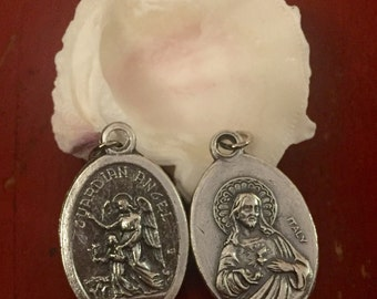 Set of 5 Guardian Angel  and Jesus Medal - 1 inch long