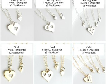 Mother Daughter Necklace Set of 2 3 4 -  Mother Daughter Gift Mothers Day Jewelry from Daughter - Mom Daughter Jewelry Gold Sterling Silver