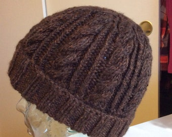 Men's hand knit cable hat