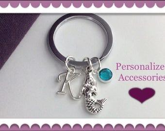 Mermaid Keychain, Mermaid Keyring, Personalized Keychain, Birthstone Mermaid Keychain, Silver Mermaid Keychain, Mermaid Gift, Keychain Gifts