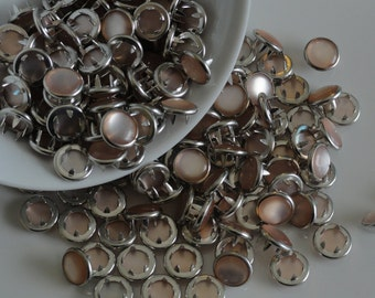 12 Vintage Cream Champagne Pearl Snap Sets  4 Part Prong Size 16