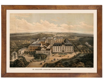 Emmitsburg, MD 1870 Bird's Eye View; 24x36 Print from a Vintage Lithograph