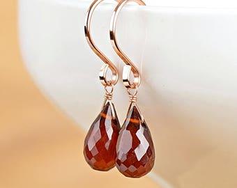 Hessonite Garnet Earrings, January Birthstone, natural Red Gemstone, Dangle Drop Earrings in 14K Rose Gold Filled Sterling Silver