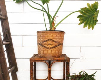 English Bamboo Plant Stand / Side Table - Vintage Gardening Furniture