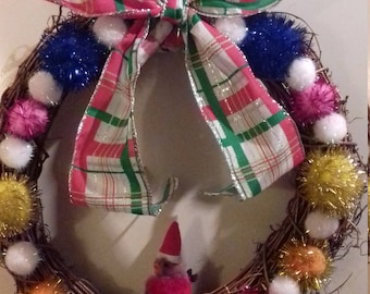 Christmas Pom Pom Wreath.