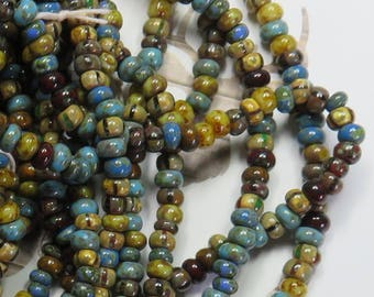 Aged Caribbean Blue Striped Picasso 6/0 Bead Mix, 1 Strand - Item 3334
