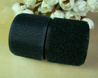 100mm / 4 Inch Black Sew on Hook & Loop Tape - 1 Meter (VC100-2)