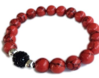 Red Turquoise Agate Bracelet