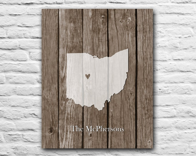 ANY STATE Home is Where the Heart is Anniversary Wedding Personalized Family Best Friend Personalized Art Print Map Ohio Columbus Cleveland