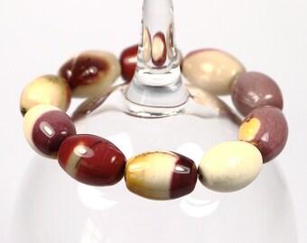 Mokaite Bracelet, Genuine Gemstone Jewelry, Stretch Bracelet, Boho Bracelet, Elastic Beaded Bracelet, Boho Style Jewelry,Natural Gemstone