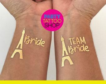 Bachelorette tattoos, bachelorette party favors, bachelorette party tattoo, team bride tattoo, Paris Bride tattoo, Tattiing