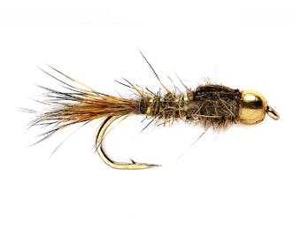 Bead Head Gold Ribbed Hares Ear Nymph Fly - Trout and Panfish Fly Fishing Flies - Hook Size 14 - Hand Tied Trout Flies