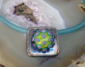 "Necklace ""TITANIUM FLORA"" - hand-crafted lampwork bead, titanium - one of a kind!"