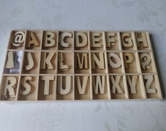 x 1 box of 81 mixed letters/alphabet wooden blank 3.2 cm