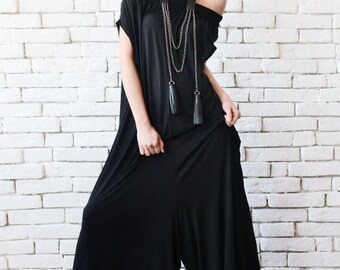 NEW Black Maxi Jumpsuit/Extravagant Wide Leg Romper/Plus Size Long Jumpsuit/Everyday Casual Jumpsuit/Black Loose One Piece/Oversize Romper