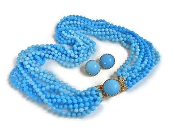 Blue Bead Necklace Clip On Earrings Vintage Jewelry Set Multi Strand Signed Hong Kong