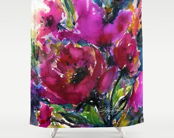"""Pink Flower Shower Curtain, Poppy Poppies Watercolor Painting of Original abstract floral art """"Jubilation"""" by Kathy Morton Stanion  EBSQ"""