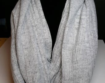 Soft Grey Knit Infinity Scarf