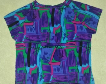 Vintage 90s Colorful Abstract Print Short Sleeve Blouse Women's Size Large