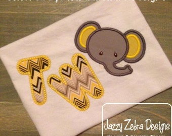 Two Elephant Appliqué embroidery Design - 2nd birthday appliqué design - two year old