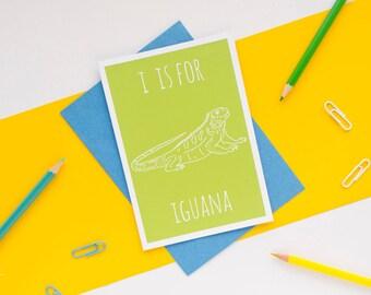 Iguana Card / Animal Alphabet Card / Animal Alphabet / Blank Greeting Card / Notecard / Animal Card / Iguana Birthday Card / Green Card