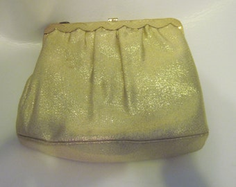 Gold Lame Evening Clutch Clasp Purse with Gold Colored Shoulder ChainVintage 60's