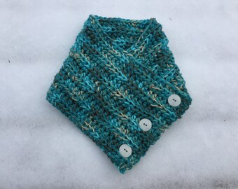 Teal blend cowl scarf