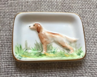 3D Dog Trinket Dish // Crown Staffordshire // 1906 Antique // Irish Setter // Pointer Dog // English China // Hand Painted // 29578