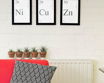 Periodic Table Elements - Nickel, Copper and Zinc - Wall Art, Print, Poster, Printable PDF+JPG