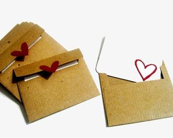Kraft Mini Envelopes & Cards - Set of 12 - Recycled Kraft Paper