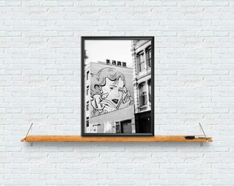 Street Art Poster, Black and White , Graffiti Photography, Urban Decor, Contemporary Wall Art, Digital Print, Instant Download