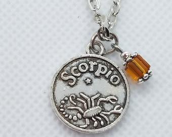 Silver Zodiac Scorpio Necklace with Swarovski Crystal Pendant