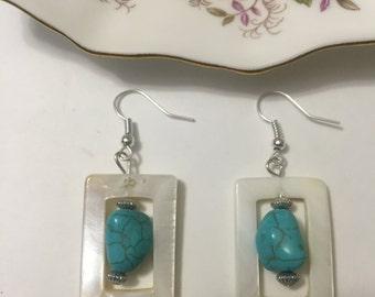 White Oblong / Rectangle Shell Earrings -  Shell Earrings - White Shell Earrings - Shell Earrings with Beads