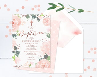 Baby Girl Baptism Invitation, Blush Pink and Rose Gold Baptism Invite, Floral Baptism Invitation, Baby Girl Baptism Invite, Christening