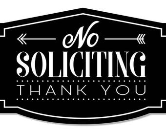 No Soliciting Thank You Sign for Home or Business | Laser Engraved on stylish material